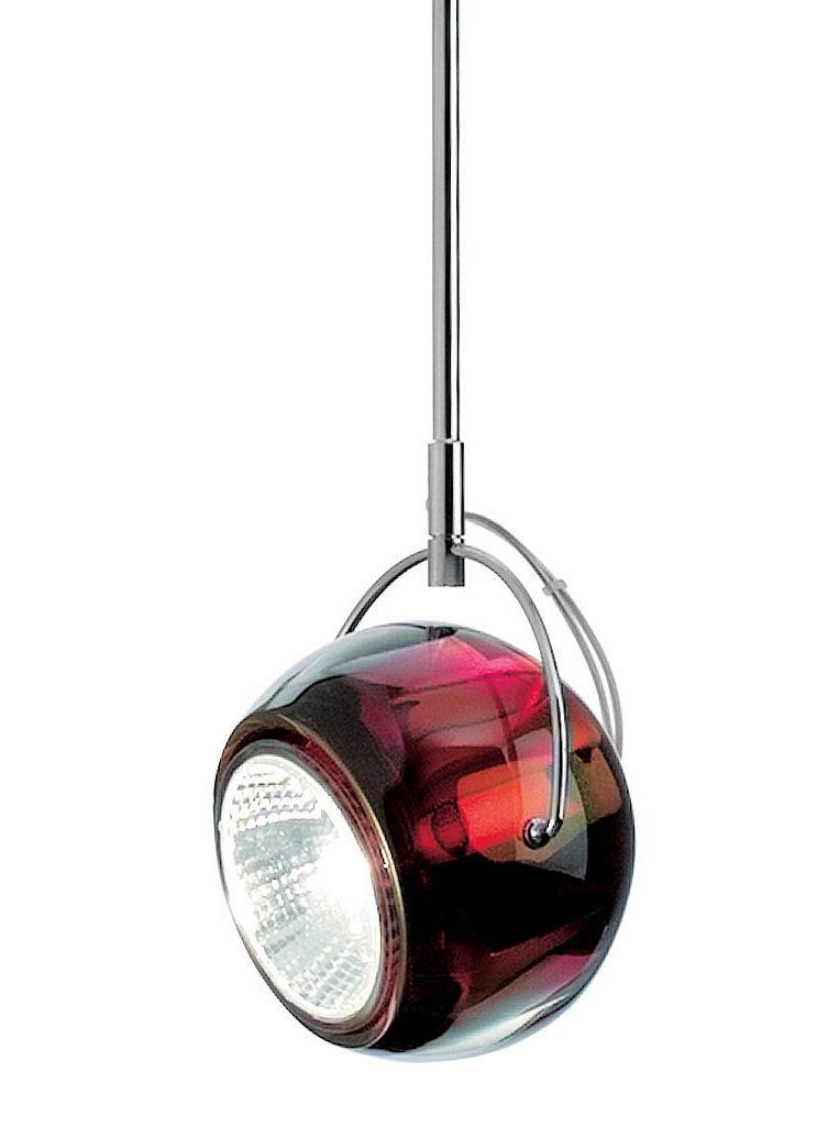 Illuminazione - Lampadari - Sospensione Beluga - Versione vetro - Ø 9 cm di Fabbian - Rosso - Vetro