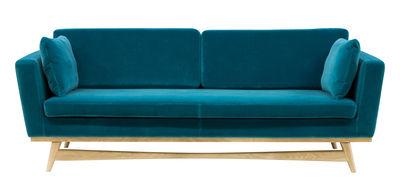 Furniture - Sofas - Straight sofa - / L 210 cm - Velvet by RED Edition - Peacock blue / Oak - High resilience foam, Solid oak, Velvet
