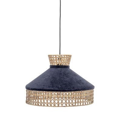 Luminaire - Suspensions - Suspension / Velours & cannage - Ø 40 cm - Bloomingville - Bleu / Naturel - Cannage de rotin, Velours