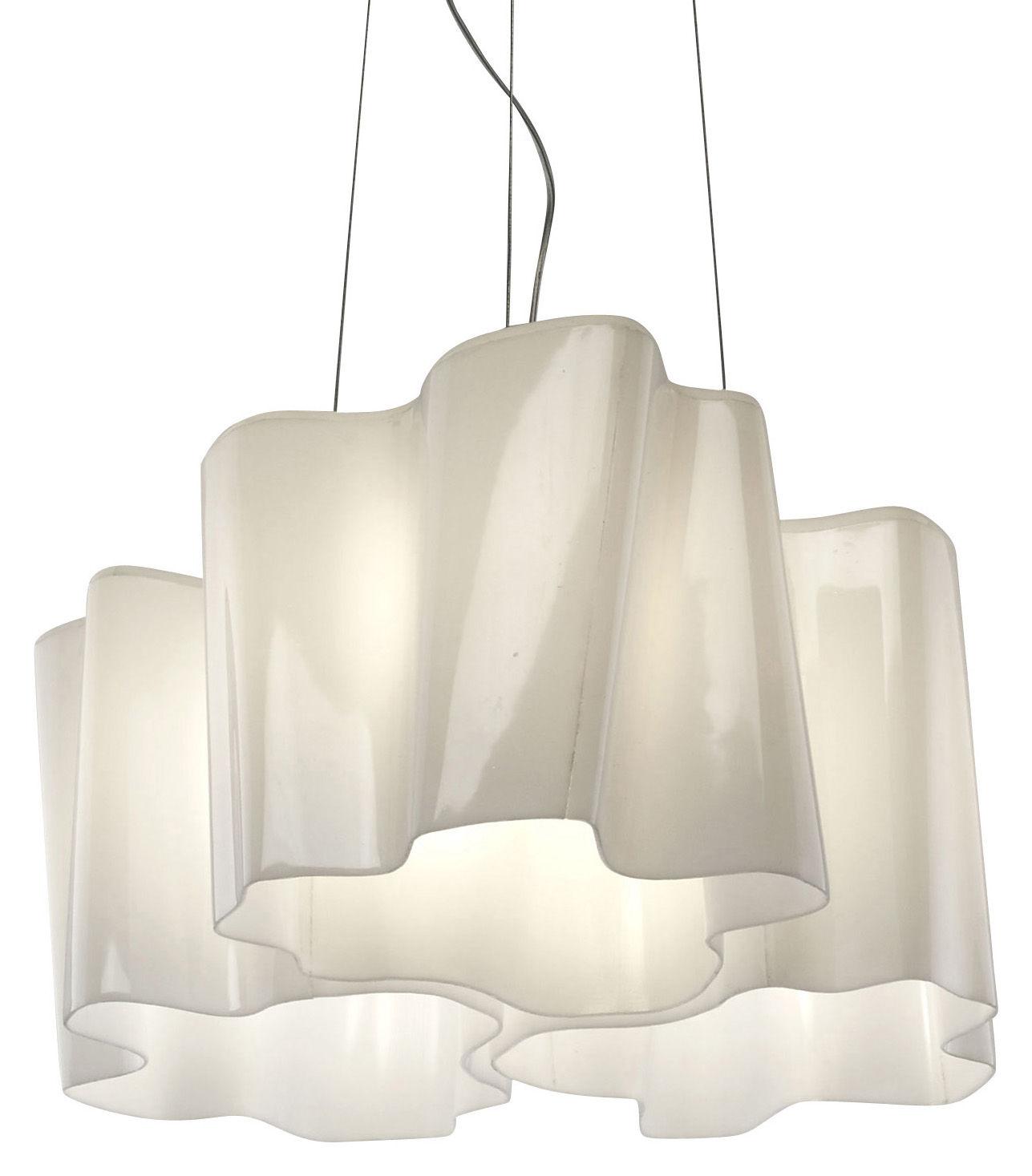 Luminaire - Suspensions - Suspension Logico Mini 3 éléments x120° - Artemide - Blanc - mini - Verre soufflé