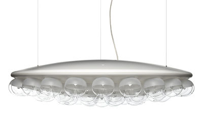 Luminaire - Suspensions - Suspension Prop Light Round / 1 face - Ø 73,5 cm - Moooi - Blanc - PMMA, Verre