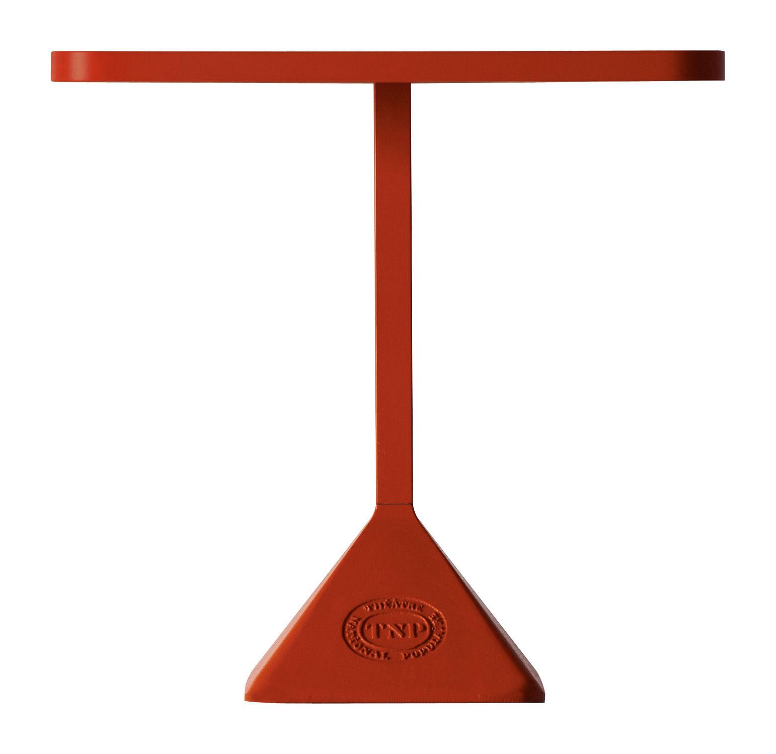Jardin - Tables de jardin - Table TNP / 70 x 70 cm - Kristalia - 70 x 70 cm - Structure rouge / Plateau rouge - Acier laqué, Acier verni, Fonte