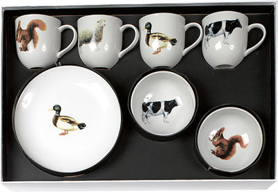 Kitchenware - Fun in the kitchen - Animal Breakfast Tableware set - 12 pieces by Pols Potten - White / Animals drawings - China