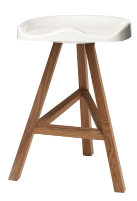 Tabouret de bar Heidi / H 65 cm - Plastique & bois - Established & Sons blanc en matière plastique