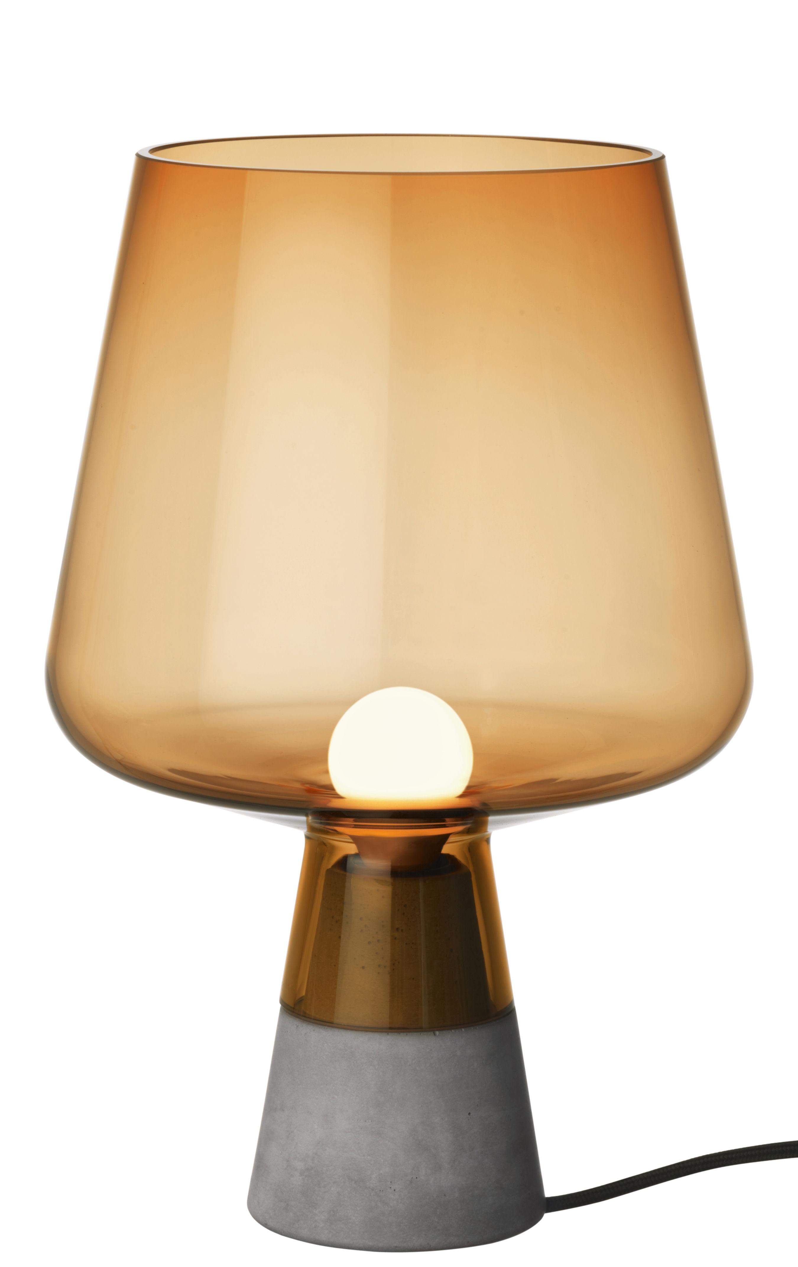 Leuchten - Tischleuchten - Leimu Tischleuchte / Ø 20 cm x H 30 cm - Iittala - Orange - Beton, geblasenes Glas