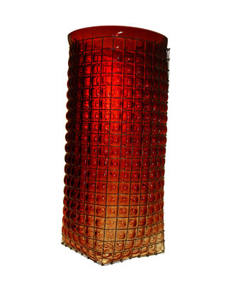 Decoration - Vases - Grid Giant Vase - / H 40 cm by Vanessa Mitrani - Transparent garnet - , Metal