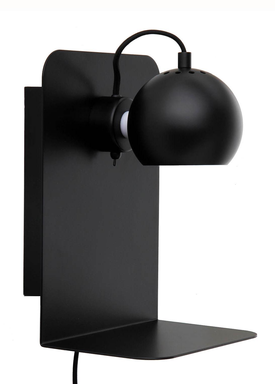 Luminaire - Appliques - Applique avec prise Ball / Etagère - Avec port USB - Frandsen - Noir mat - Métal peint
