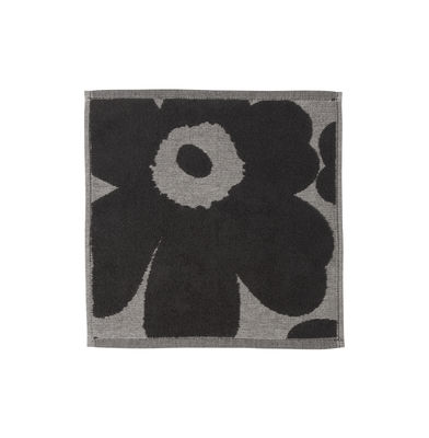 Image of Asciugamano Unikko - / 30 x 30 cm di Marimekko - Grigio,Nero - Tessuto