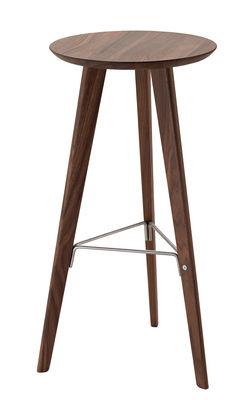 Furniture - Bar Stools - Ido Bar stool - Wood - H 72 cm by Zanotta - Walnut / Stainless steel - Metal, Walnut