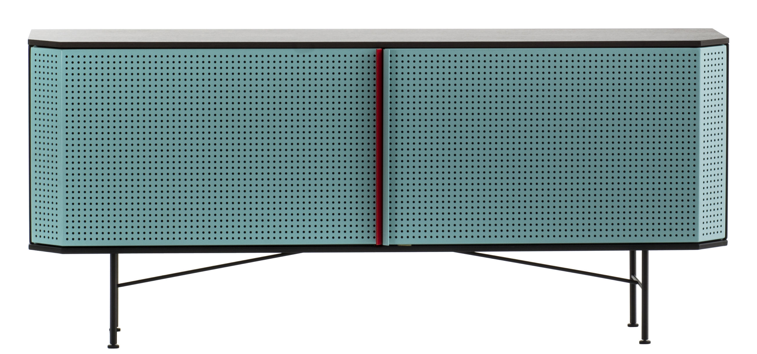 Arredamento - Contenitori, Credenze... - Buffet Perf - / l 150 cm di Diesel with Moroso - Verde / Listino per l'apertura sportelli rosso - Acciaio verniciato