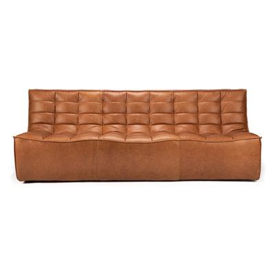 Mobilier - Canapés - Canapé droit N701 / 3 places - L 210 cm / Cuir - Ethnicraft - Cuir Cognac - Bois, Cuir aniline, Mousse
