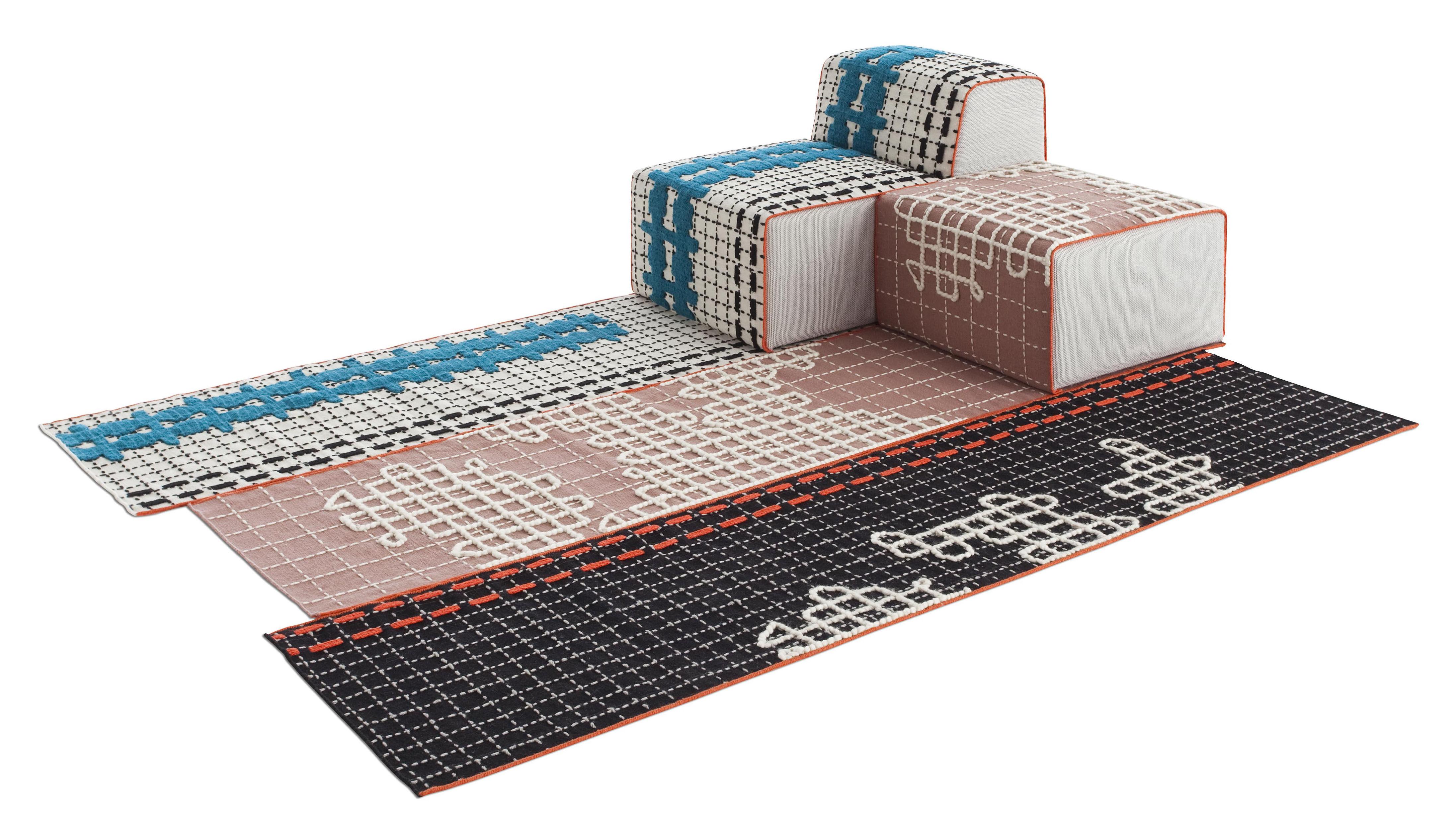 Mobilier - Canapés - Canapé modulable n° 1 Bandas / 1 tapis + 1 pouf Small + 1 chauffeuse - Gan - Turquoise, Rose & noir - Laine