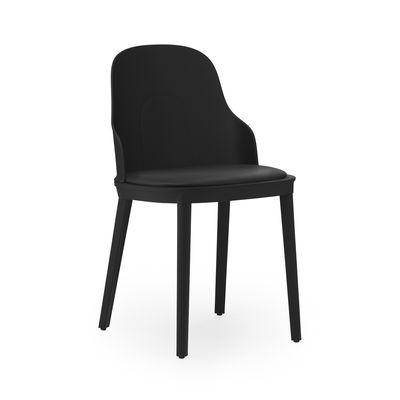 Mobilier - Chaises, fauteuils de salle à manger - Chaise Allez INDOOR / Assise  cuir - Normann Copenhagen - Noir / Cuir noir - Cuir, Mousse, Polypropylène