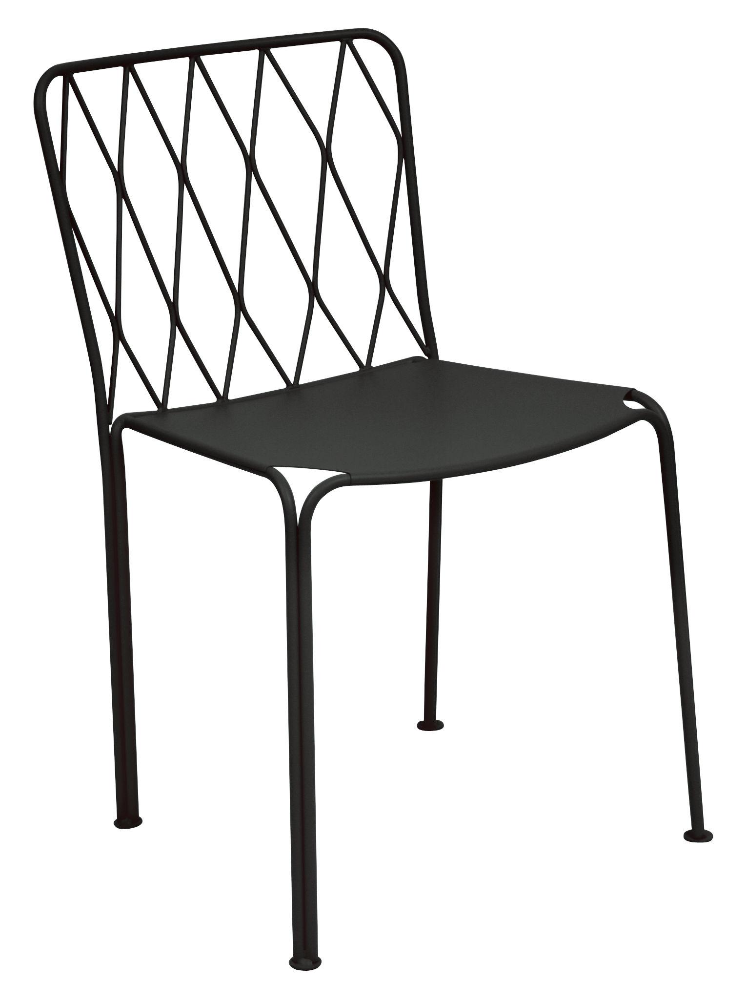 Mobilier - Chaises, fauteuils de salle à manger - Chaise Kintbury / Métal - Fermob - Réglisse - Acier peint