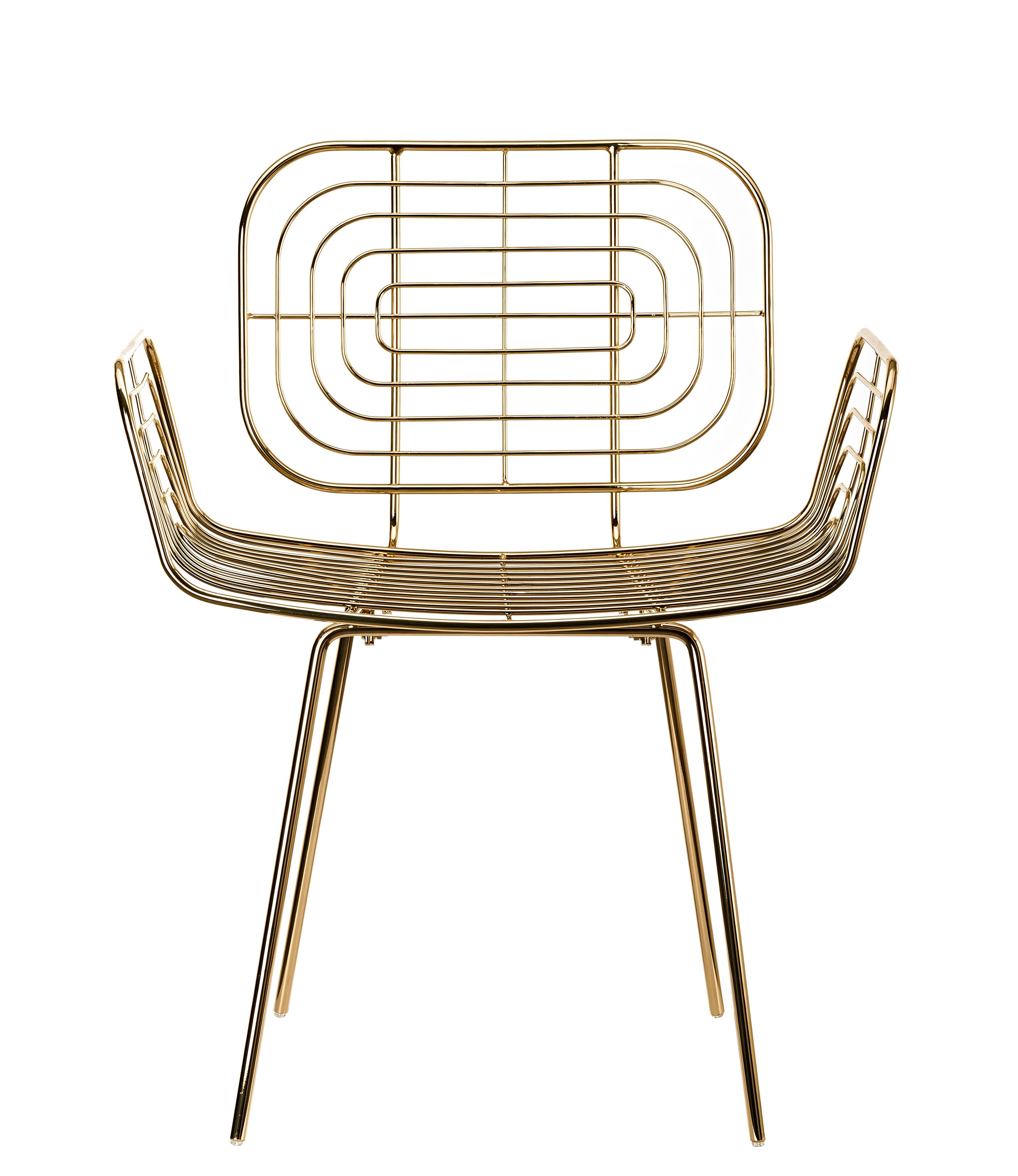Mobilier - Chaises, fauteuils de salle à manger - Fauteuil Boston / Métal - Pols Potten - Doré - Métal laqué
