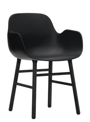 Mobilier - Chaises, fauteuils de salle à manger - Fauteuil Form / Pied bois laqué - Normann Copenhagen - Noir - Chêne laqué, Polypropylène