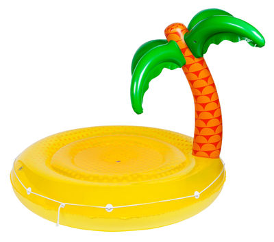 Decoration - Children's Home Accessories - Float inflatable - / Desert island - Ø 160 cm by Sunnylife - Desert island / Yellow & green - High resistance PVC