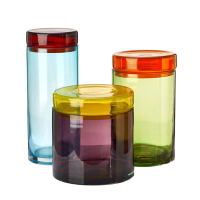 Kitchenware - Kitchen Storage Jars - Jar - / Set of 3 - Hand-blown glass by Pols Potten - Multicoloured - Mouth blown glass