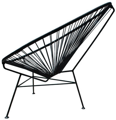Furniture - Armchairs - Acapulco Low armchair by OK Design pour Sentou Edition - Black - Lacquered steel, Plastic material