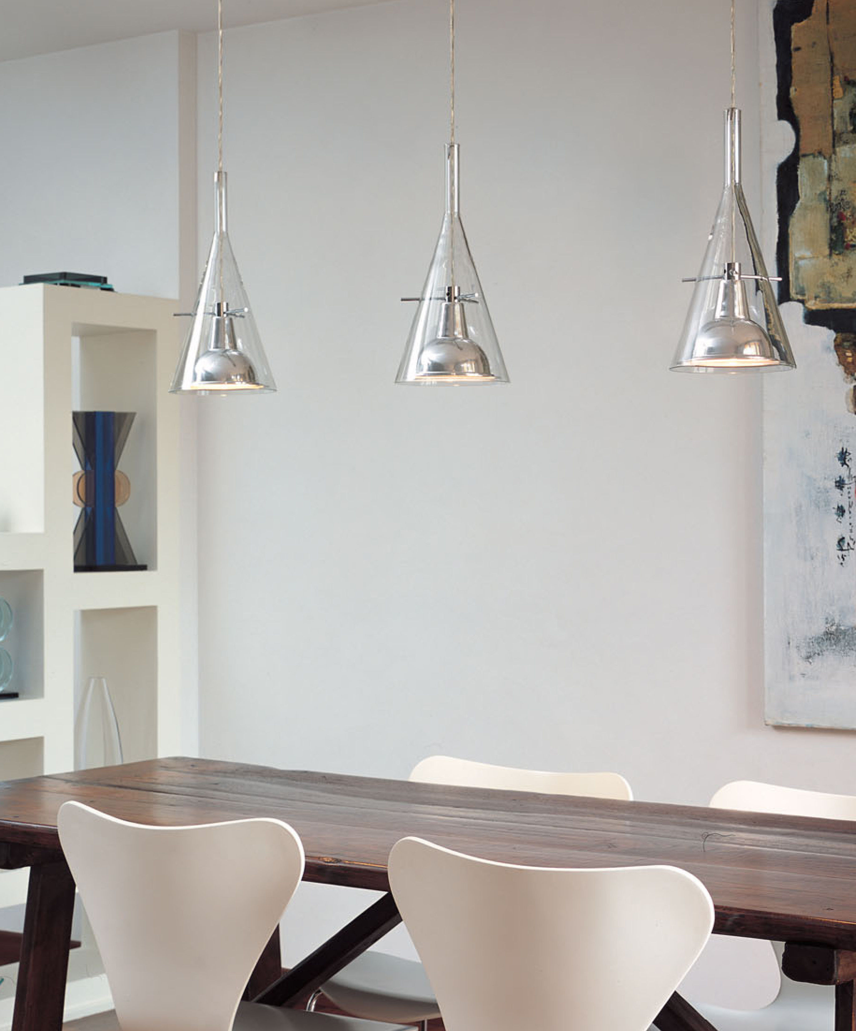 Lighting pendant lighting flûte 3 pendant by fontana arte glass chrome