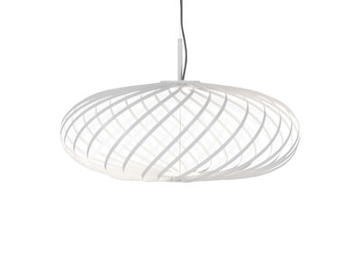 Lighting - Pendant Lighting - Spring Small LED Pendant - / Ø 56 x H 24 cm - Adjustable steel strips by Tom Dixon - White - Stainless steel