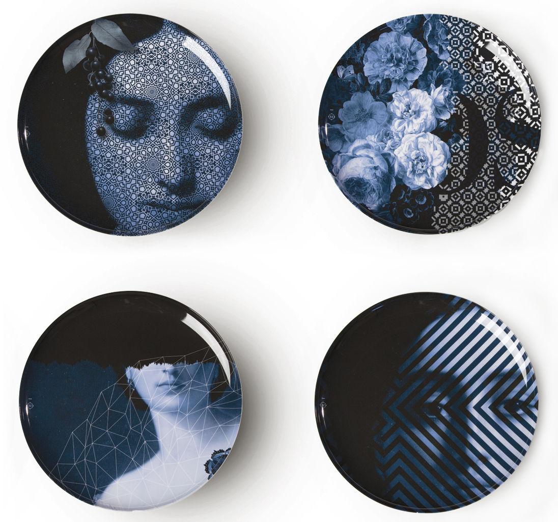 Tableware - Plates - Yuan Osorio Plate - / Set of 4 by Ibride - White / Blue motifs (Osorio) - Melamine