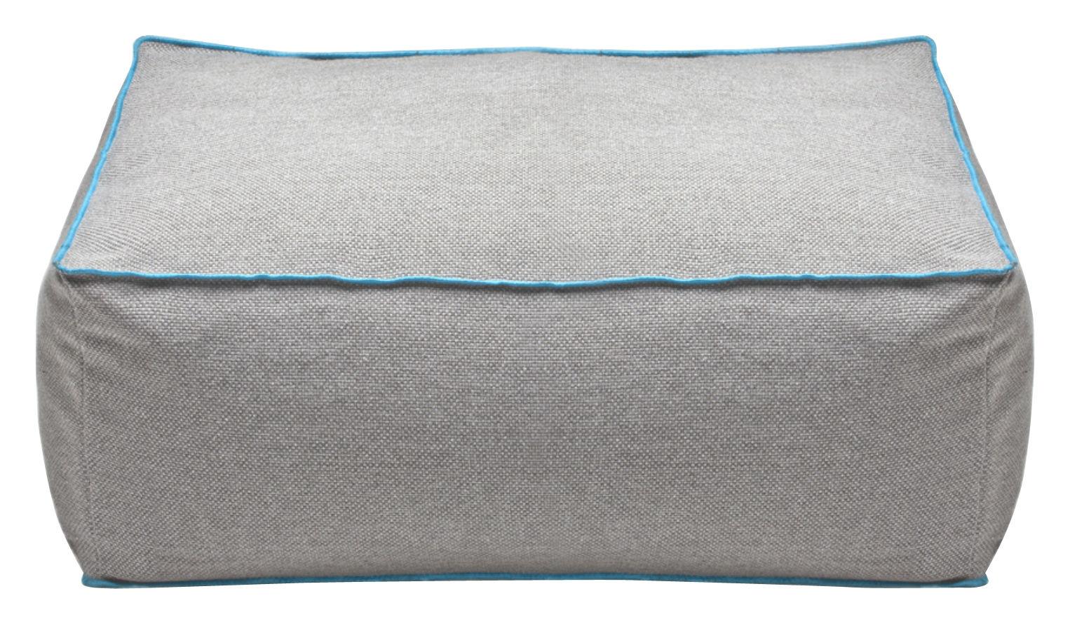 Mobilier - Poufs - Pouf Frollino tissu - Pour l'intérieur - Skitsch - Gris & liseré bleu - Fibre de polyester, Tissu
