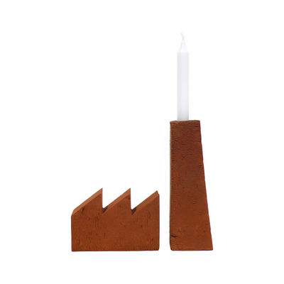 Accessories - Desk & Office Accessories - Fabrique Book-end - / Candlestick - Sculpted, hand-moulded brick by Aequo Design - Terracotta - Terracotta