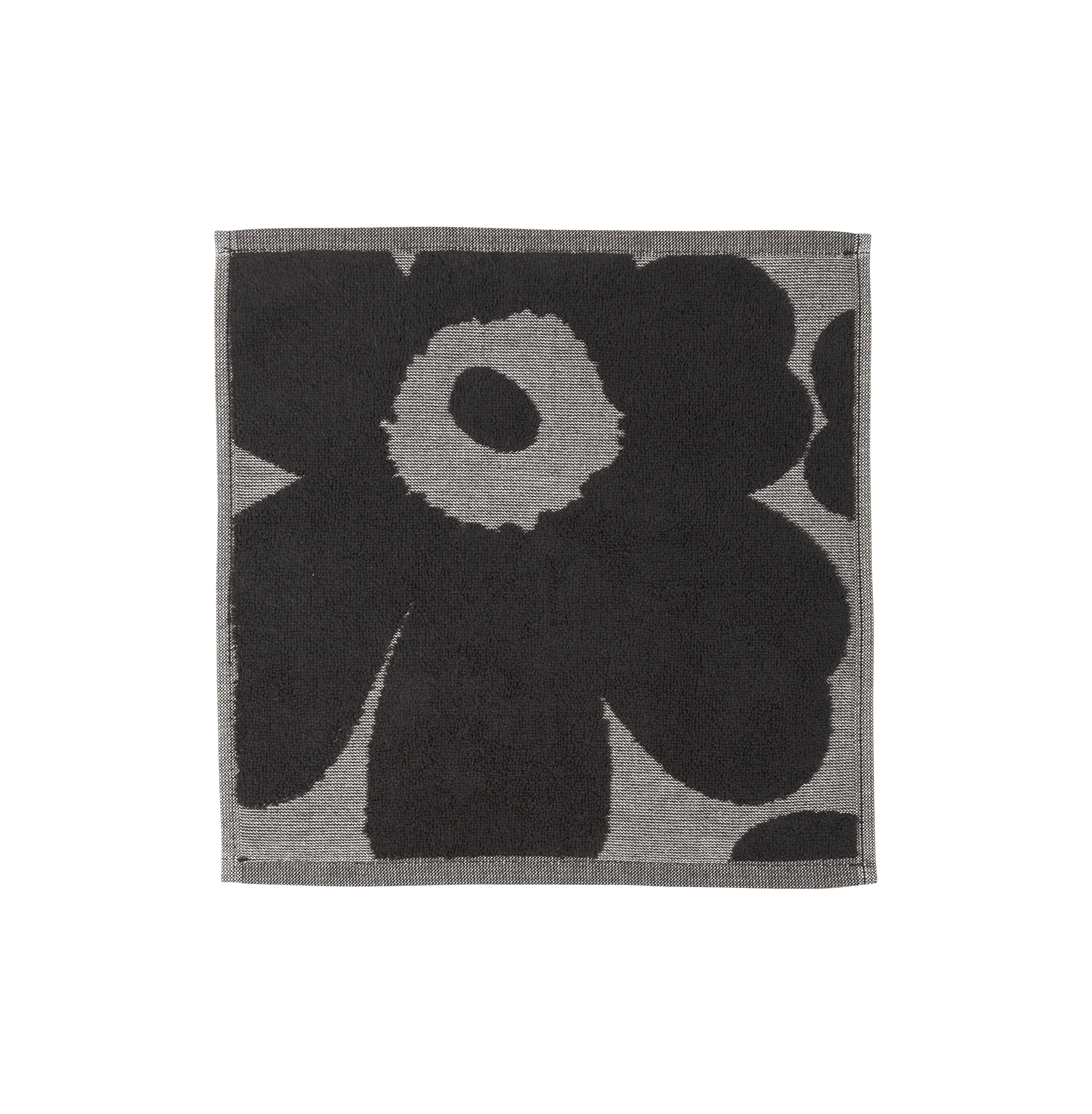Accessoires - Accessoires salle de bains - Serviette invité Unikko / 30 x 30 cm - Marimekko - Unikko / Noir & gris - Coton