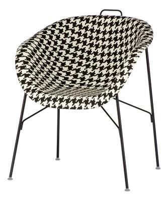 Möbel - Stühle  - Eu/phoria Fashion Sessel Sitzfläche Alcantara - Eumenes - Gestell schwarz / Sitzschale mit Stoffbezug mit schwarz-weißem Hahnentrittmuster - gefirnister Stahl, Holz, Polypropylen, Tissu Alcantara