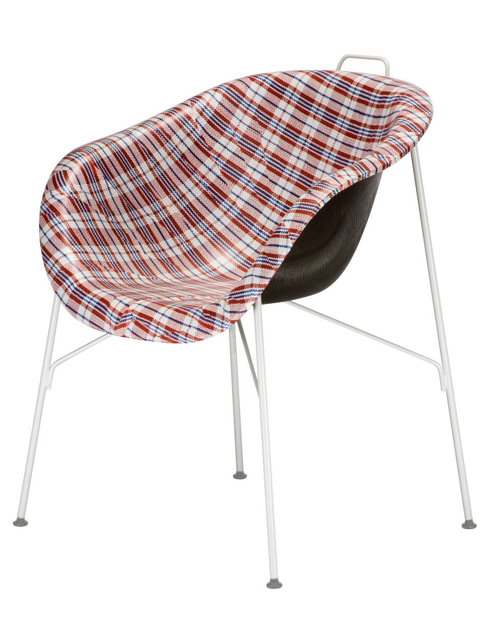 Möbel - Stühle  - Eu/phoria Made To Measure Sessel - Eumenes - Gestell weiß / Sitzschale mit rot-weiß-kariertem Stoffbezug - gefirnister Stahl, Gewebe, Holz, Polypropylen