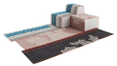 Image of Set n° 1 Bandas / 1 tappeto + 1 pouf Small + 1 chauffeuse - Gan - Rosa,Nero,Beige,Turchese - Tessuto