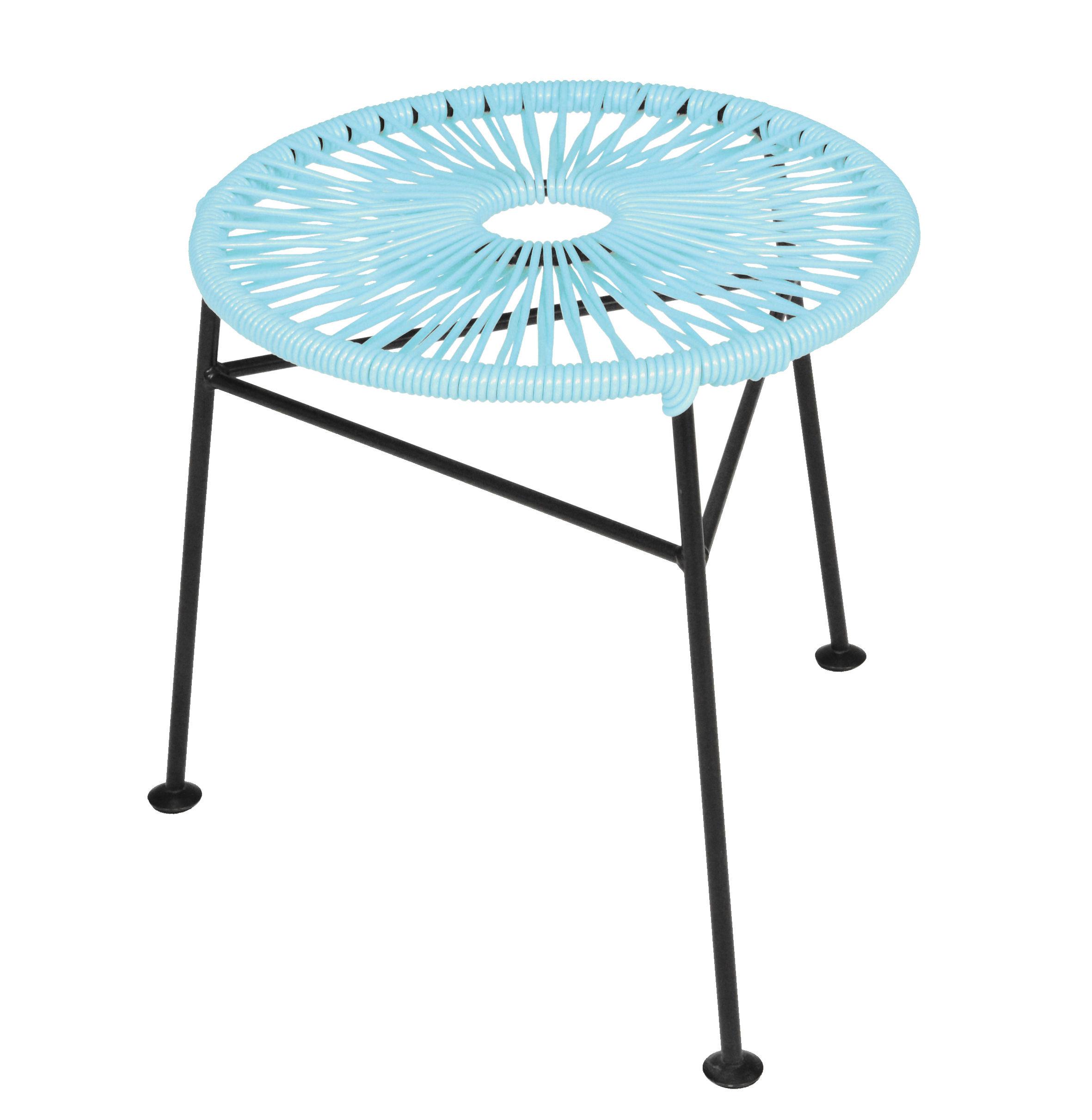Arredamento - Sgabelli - Sgabello impilabile Centro / Plastica intrecciata - OK Design per Sentou Edition - Turchese - Acciaio laccato, Materiale plastico