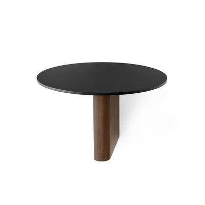 Furniture - Bookcases & Bookshelves - Column JA1 Shelf - / Aluminium & walnut - Ø 25 cm by &tradition - Walnut & black - Aluminium, Noyer massif huilé
