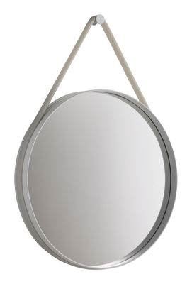 Arredamento - Specchi - Specchio murale Strap - Ø 50 cm di Hay - Ø 50 cm - Cornice grigio chiaro / laccio grigio chiaro - Acciaio laccato, Silicone