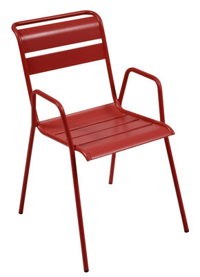 Furniture - Chairs - Monceau Stackable armchair - Metal by Fermob - Pimento - Painted steel