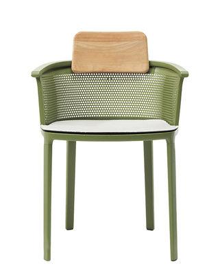 Nicolette Stapelbarer Sessel / Aluminium & Teakholz - Ethimo - Weiß,Olivgrün,Teak, natur
