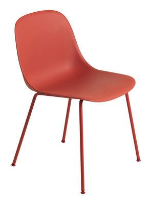 Möbel - Stühle  - Fiber Stuhl / 4-beinig, Stuhlbeine aus Metall - Muuto - Rot / Stuhlbeine rot - Recyceltes Verbundmaterial, Stahl