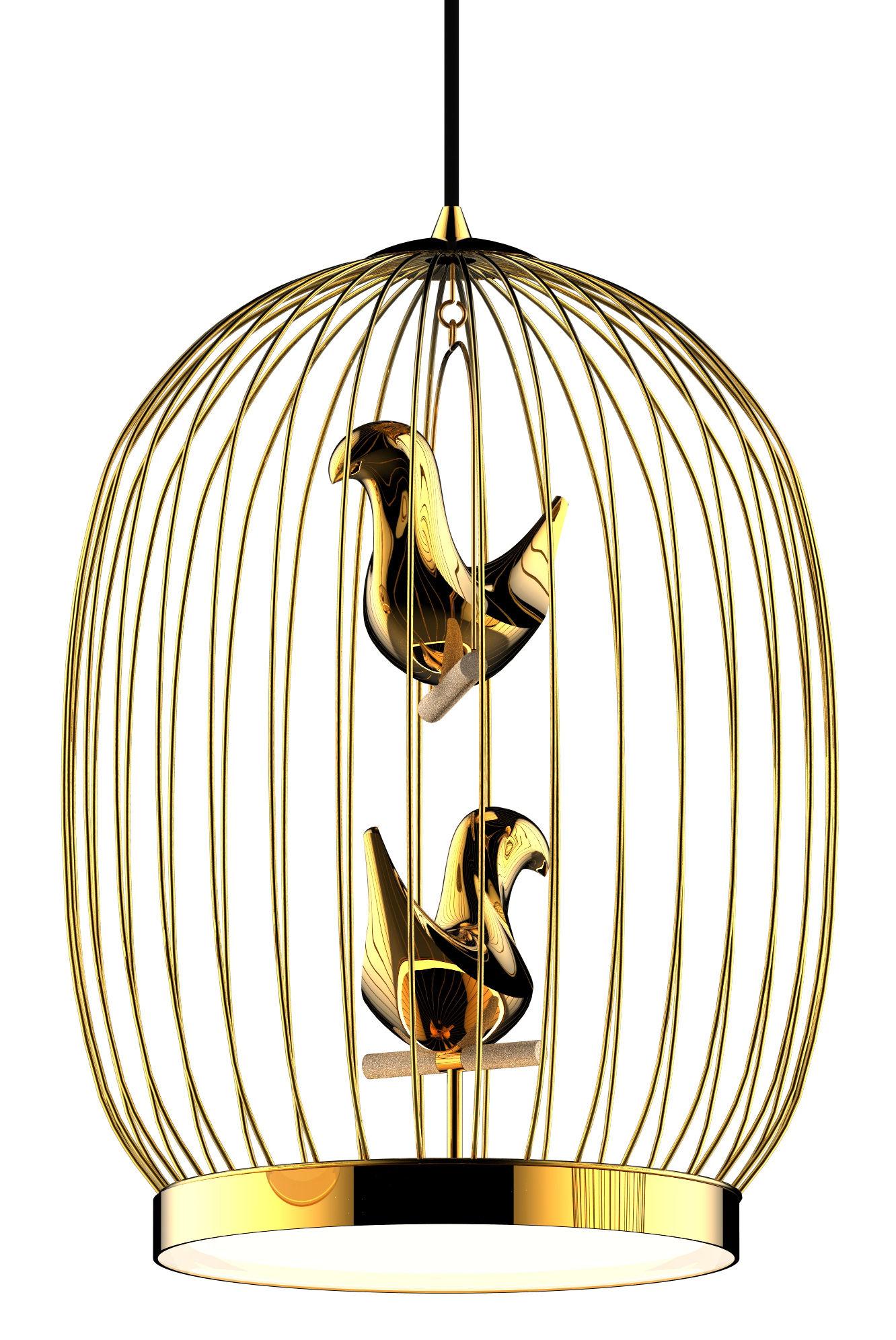 Luminaire - Suspensions - Suspension Twee T. Large / LED - H 56 cm - Plaqué or - Casamania - Suspension / Or - Céramique plaquée or, Métal plaqué or
