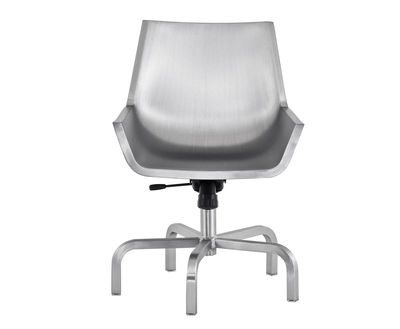 Furniture - Office Chairs - Sezz Swivel armchair by Emeco - Brushed aluminium - Brushed-finish recycled aluminium