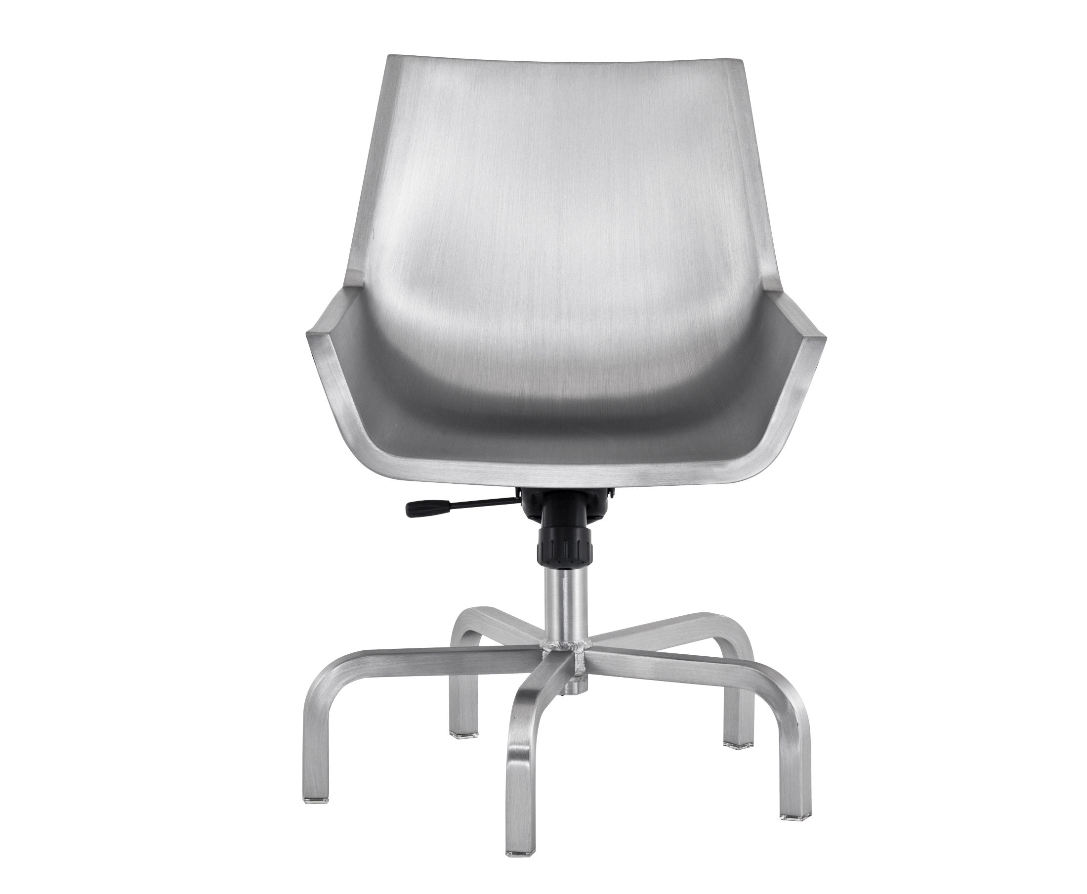 Furniture - Office Chairs - Sezz Swivel armchair by Emeco - Brushed aluminium - Aluminium recyclé finition brossé