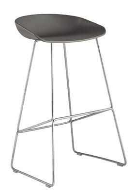 Tabouret de bar About a stool AAS 38 / H 75 cm - Piètement luge acier - Hay gris,métal en métal