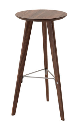 Tabouret de bar Ido / Bois & Metal - H 72 cm - Zanotta inox satiné,noyer naturel en bois