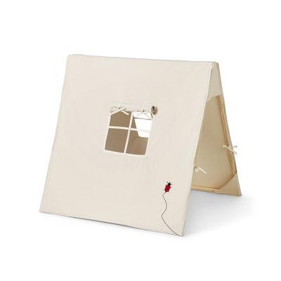 Tente enfants Coccinelle / Tissu & bois - Pliable - Ferm Living blanc en tissu