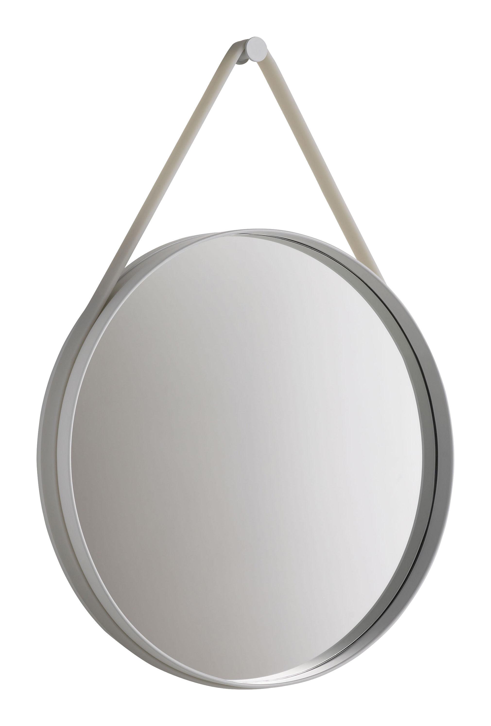 Möbel - Spiegel - Strap Wandspiegel Ø 50 cm - Hay - Ø 50 cm -  Fassung hellgrau / Halteband hellgrau - lackierter Stahl, Silikon