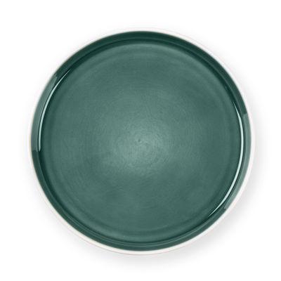 Arts de la table - Assiettes - Assiette plate / Ø 26,3 cm - Grès bicolore - Au Printemps Paris - Kaki foncé / Blanc mat - Grès
