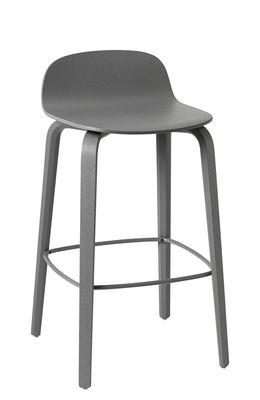 Möbel - Barhocker - Visu Barhocker / Holz - H 65 cm - Muuto - Dunkelgrau / Fußablage dunkelgrau - gefirnister Stahl, lackierte Esche