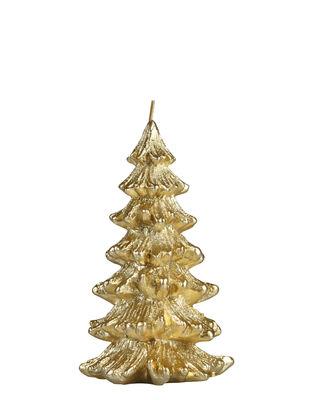 Bougie Sapin de Noël / Small - H 13,5 cm - & klevering doré en cire