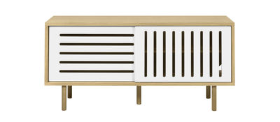 Buffet Amsterdam Stripes / Meuble TV - L 135 cm - POP UP HOME blanc,chêne naturel en bois