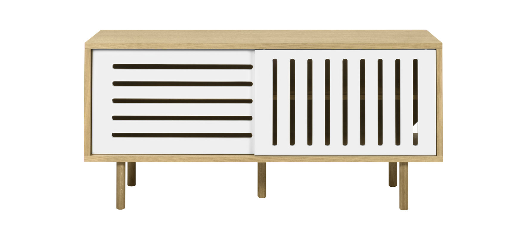 Mobilier - Commodes, buffets & armoires - Buffet Amsterdam Stripes / Meuble TV - L 135 cm - POP UP HOME - Chêne / Portes blanches - Contreplaqué chêne, MDF peint, Panneaux de particules